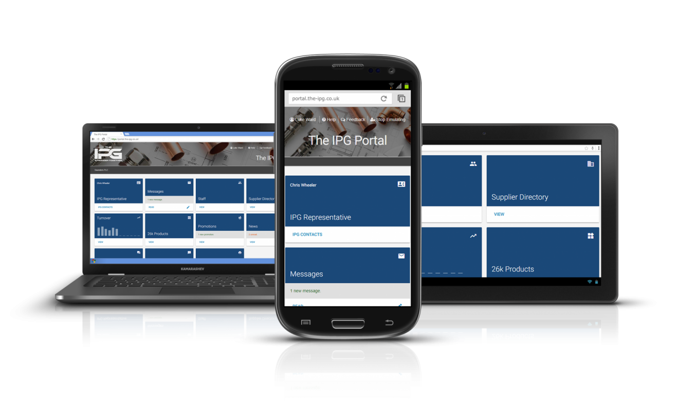 The IPG Portal on a laptop, tablet and mobile device.